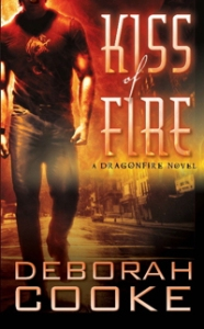 Original mass market edition of Kiss of Fire, book #1 of the Dragonfire series of paranormal romances by Deborah Cooke