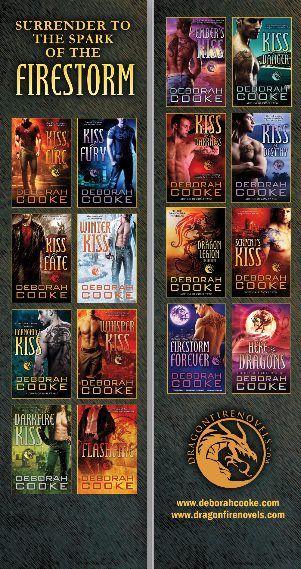 Bookmark design for the Dragonfire series of paranormal romances by Deborah Cooke