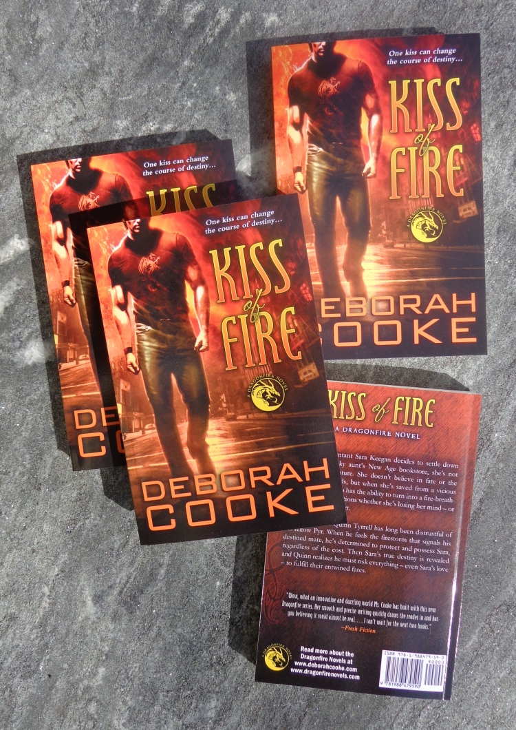 Kiss of Fire, book #1 of the Dragonfire series of paranormal romances by Deborah Cooke, in its new trade paperback edition