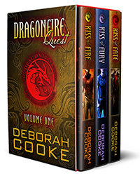 Dragonfire Quest, the first Dragonfire digital bundle including Kiss of Fire, Kiss of Fury and Kiss of Fate of the Dragonfire Novels series of paranormal romances by Deborah Cooke