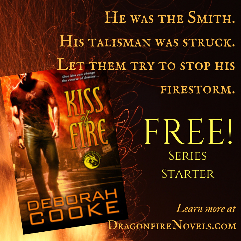 Kiss of Fire, book one of the Dragonfire Novels series of paranormal romances featuring dragon shifter heroes by Deborah Cooke, is free for a limited time