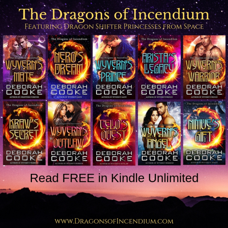The Dragons of Incendium series of science fiction romances featuring dragon shifter princesses from space by Deborah Cooke. Now free to read in Kindle Unlimited