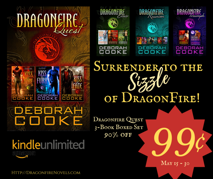 Dragonfire Quest, the first Dragonfire Novel boxed set of three paranormal romances by Deborah Cooke is on sale for 99 cents May 15 to 30 2020