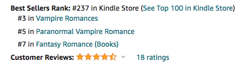 Dragon's Kiss, book two of the DragonFate Novels paranormal romances by Deborah Cooke at #237 overall in the Kindle store, #3 in Vampire romance and #7 in Fantasy romance on January 28, 2021