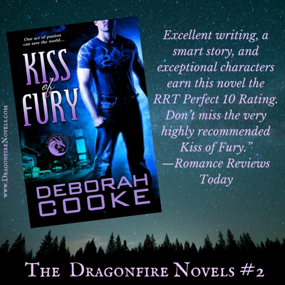 Kiss of Fury, book two of the Dragonfire novels series of paranormal romances by Deborah Cooke
