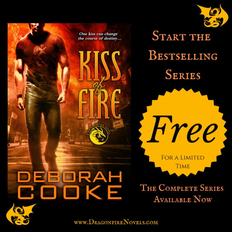Kiss of Fire, book one of the Dragonfire Novels paranormal romance series by Deborah Cooke